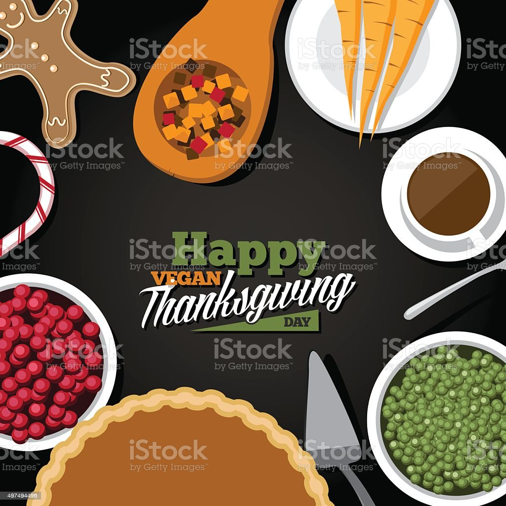 Vegan Thanksgiving meal greeting card design vector art illustration