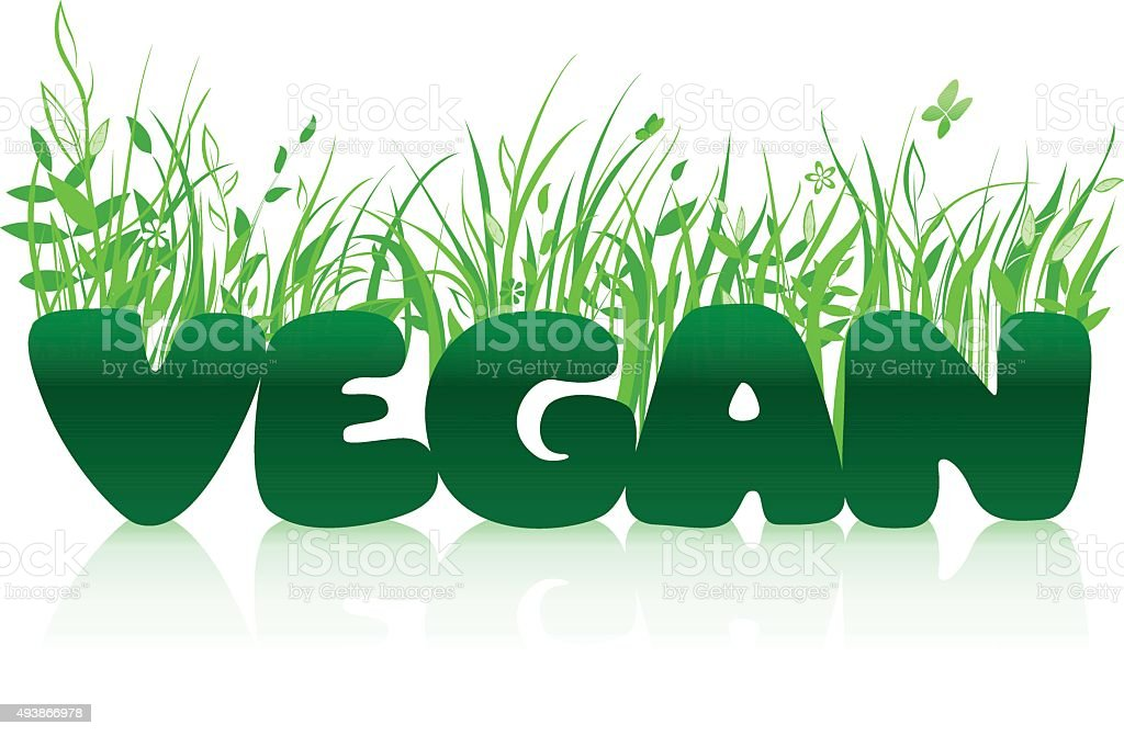 Vegan typographic concept vector art illustration