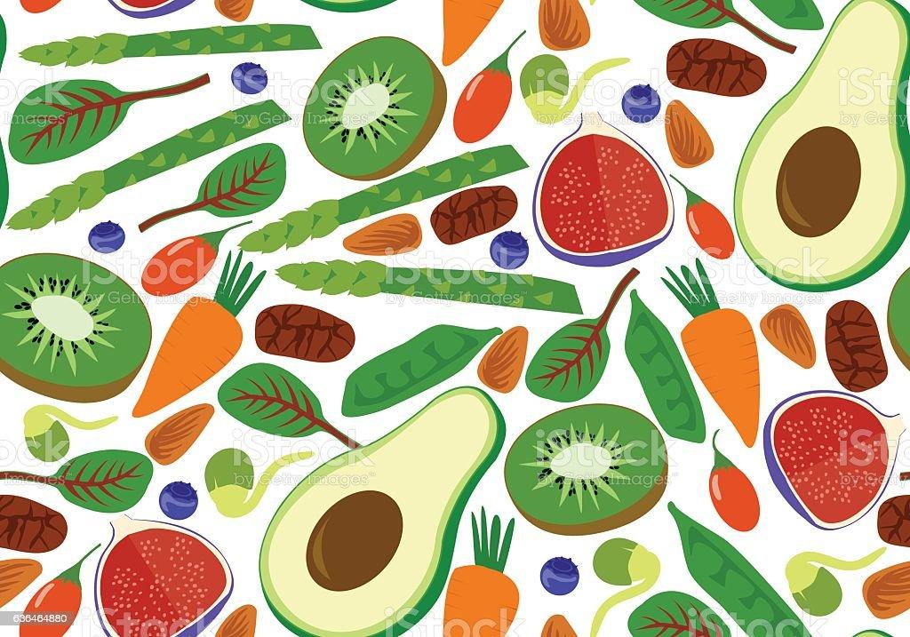 Vegan vegetarian seamless pattern. Fruits and vegetables vector art illustration
