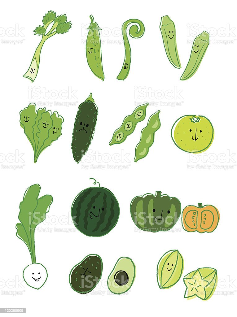 Vegetable and fruit Green vector art illustration