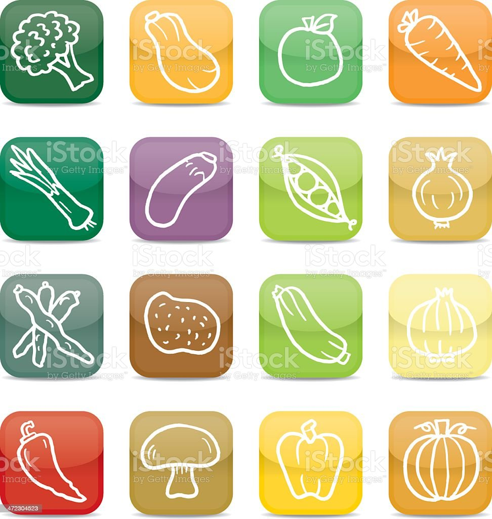 Vegetable app style icons vector art illustration