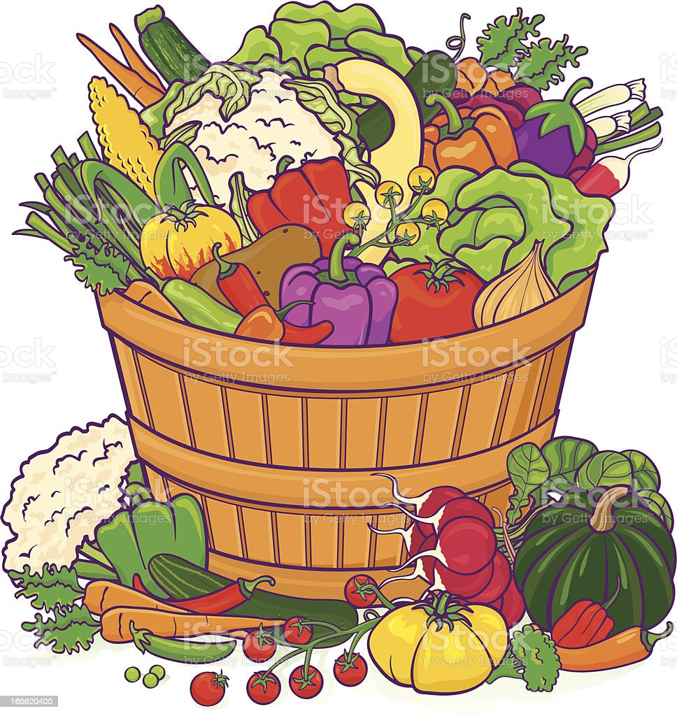 Vegetable basket bounty royalty-free stock vector art