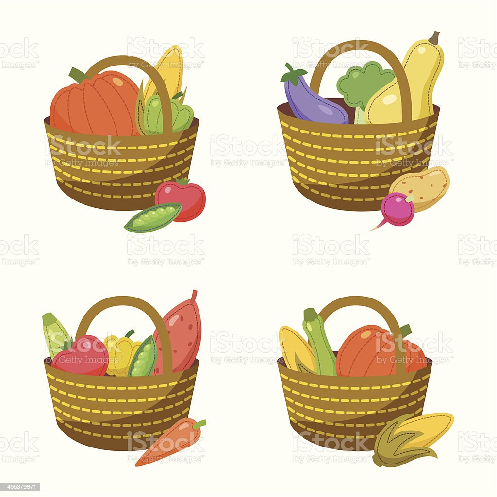 Vegetable baskets royalty-free stock vector art
