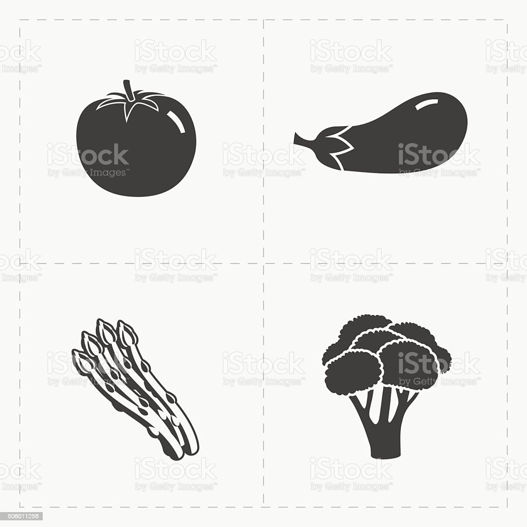 Vegetable Black Icon set on White vector art illustration