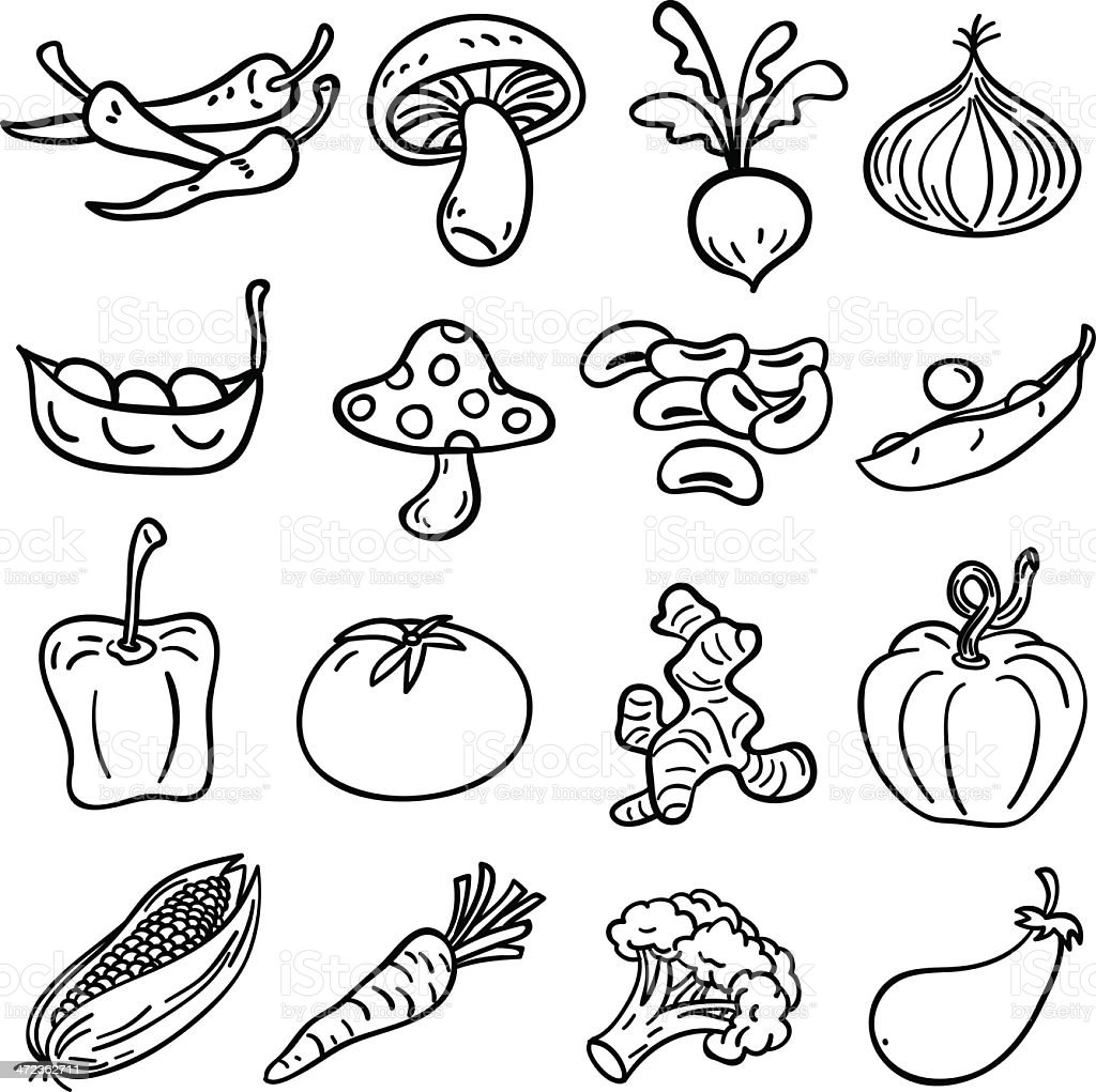 Vegetable Collection In Black And White Illustration stock ...