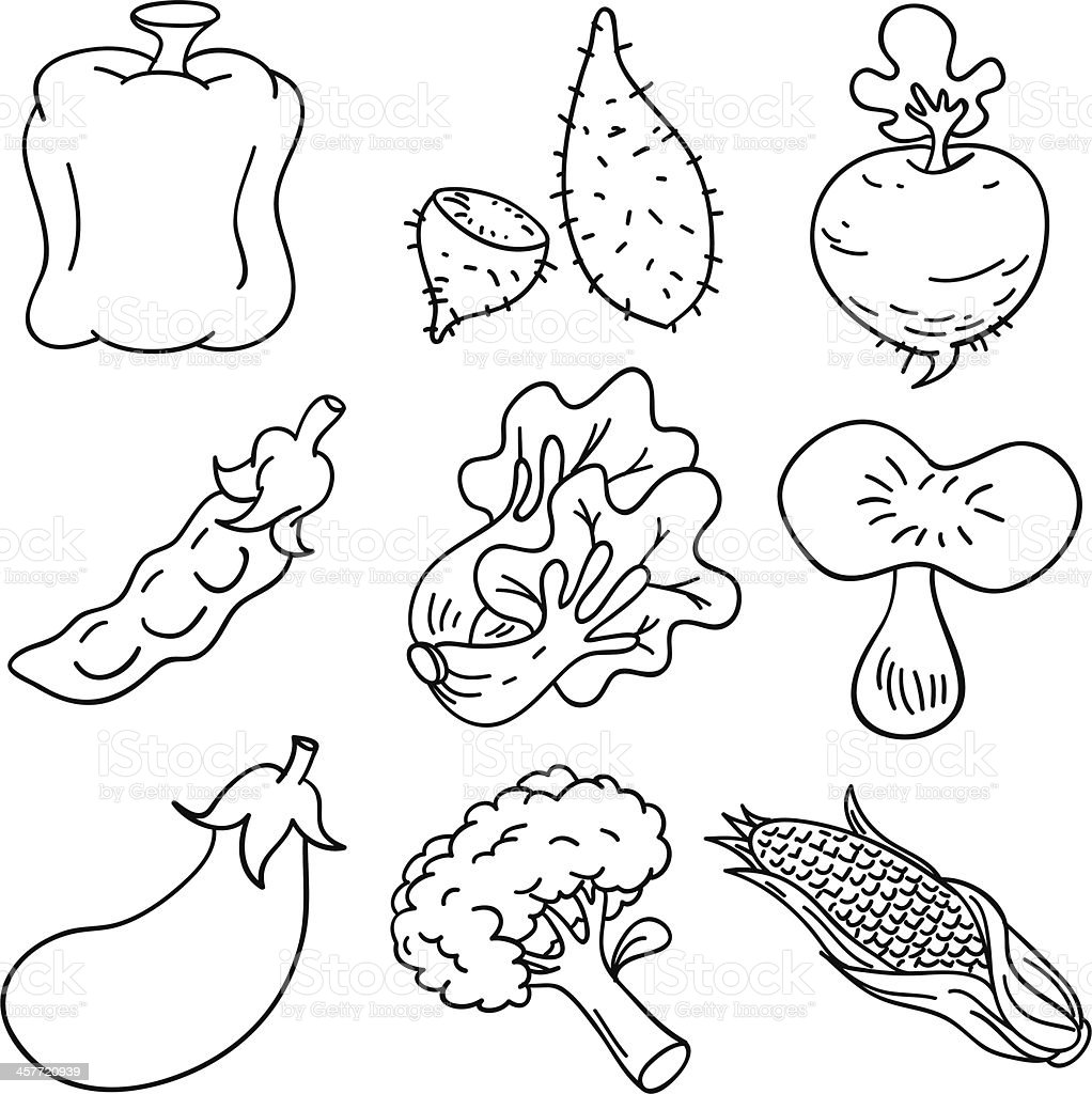 Vegetable collection in Black and White vector art illustration