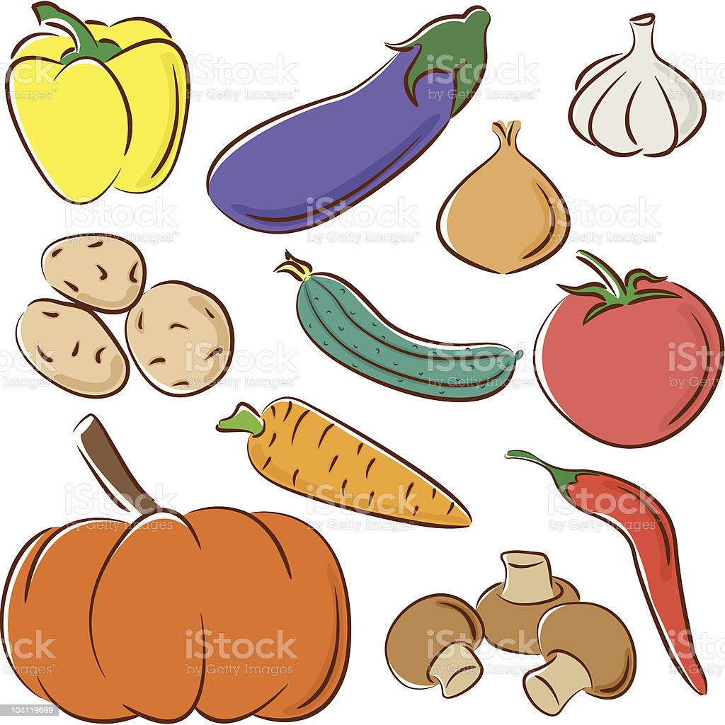Vegetable collection vector art illustration