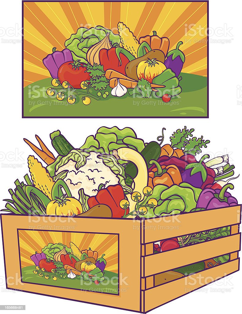 Vegetable Crate royalty-free stock vector art