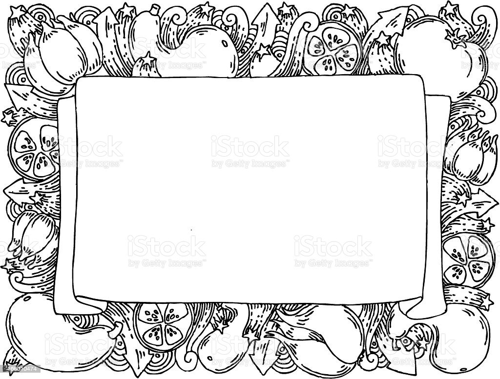Vegetable doodle banner royalty-free stock vector art
