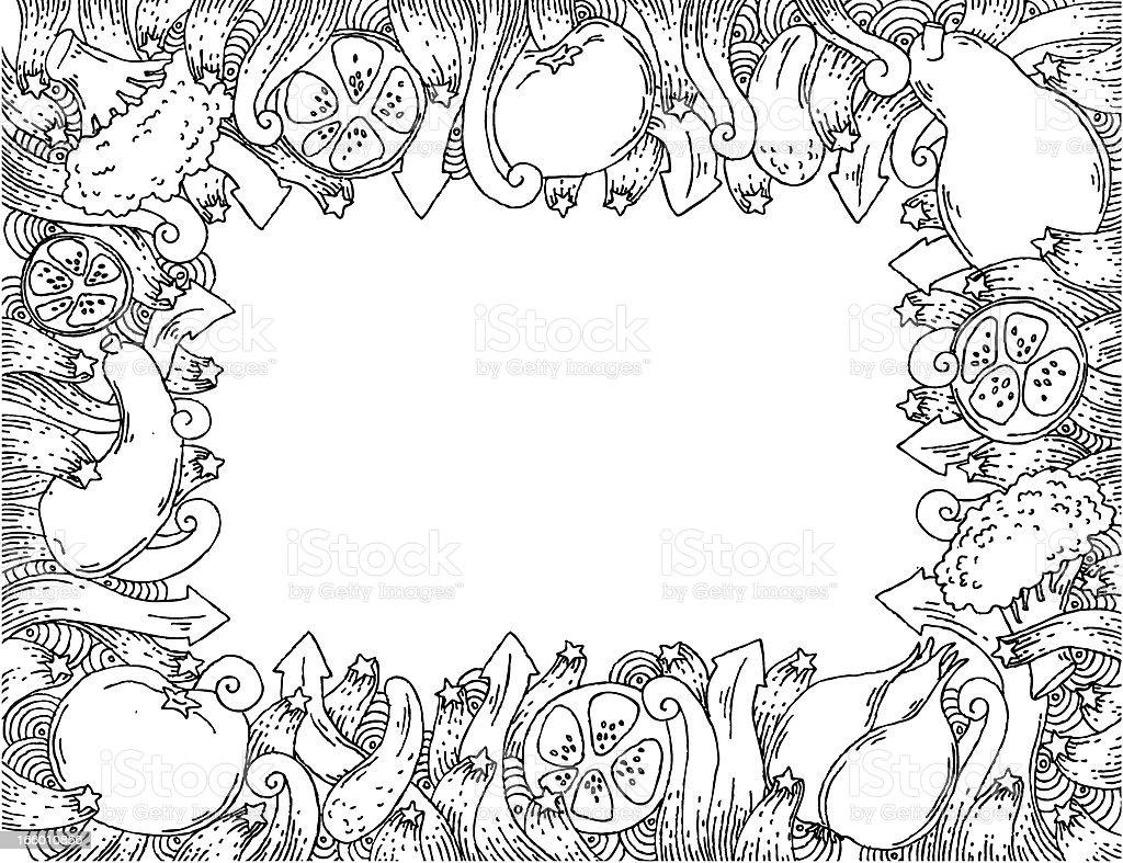 Vegetable doodle frame royalty-free stock vector art