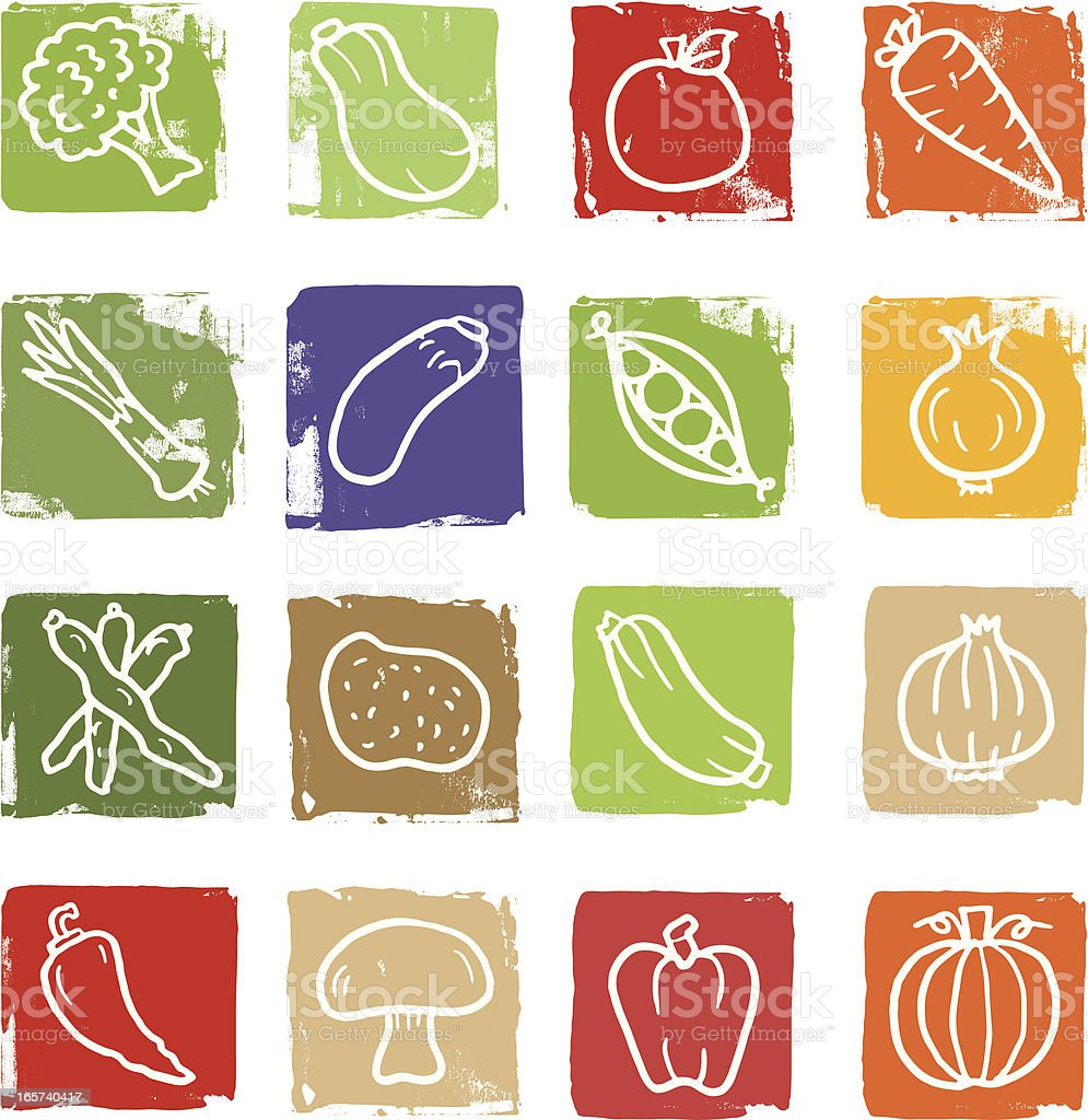 Vegetable doodle icon blocks royalty-free stock vector art