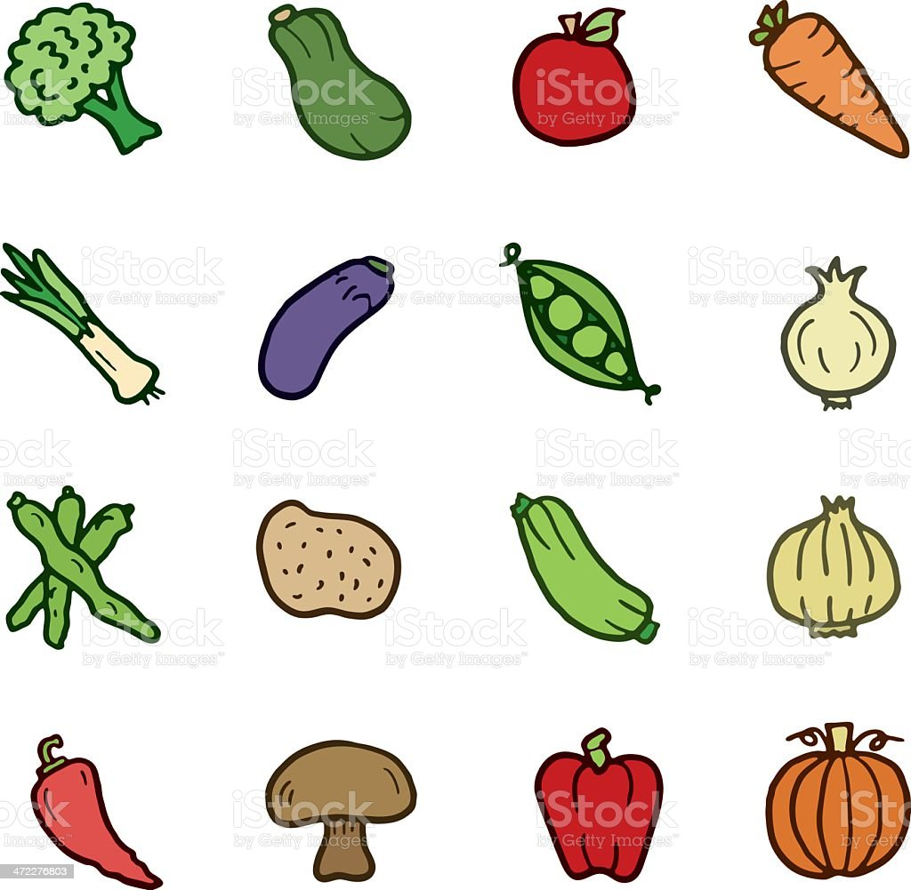 Vegetable doodle icons royalty-free stock vector art