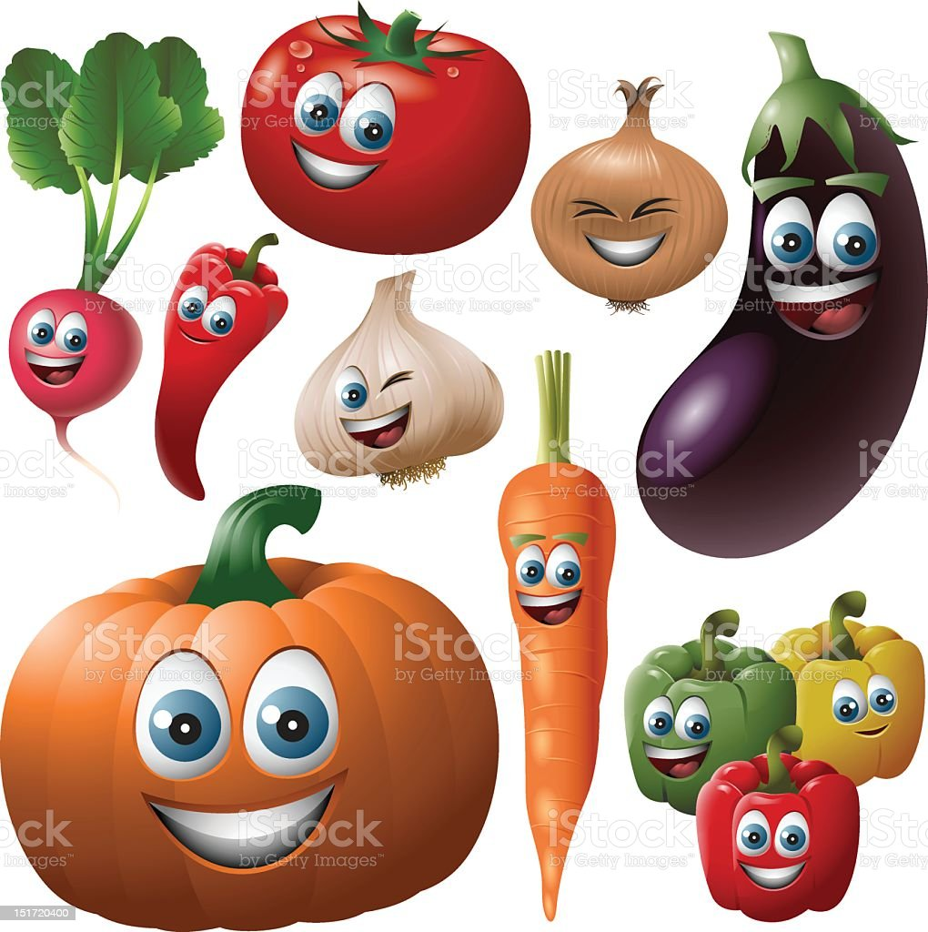 Vegetable Faces Set royalty-free stock vector art
