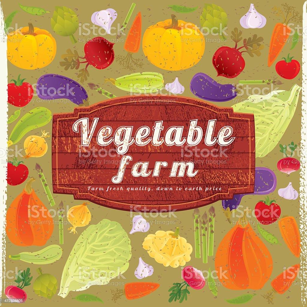 Vegetable Farm Sign royalty-free stock vector art