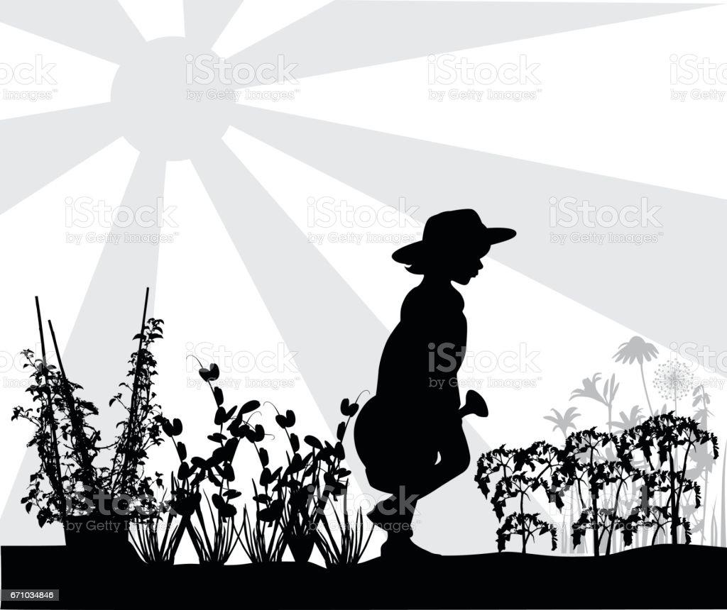 Vegetable Garden And Child vector art illustration