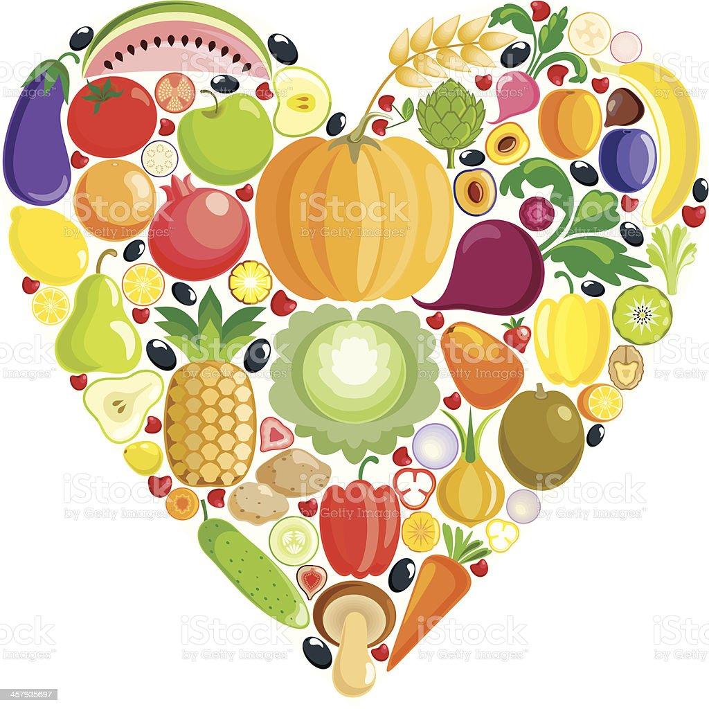Vegetable heart vector art illustration