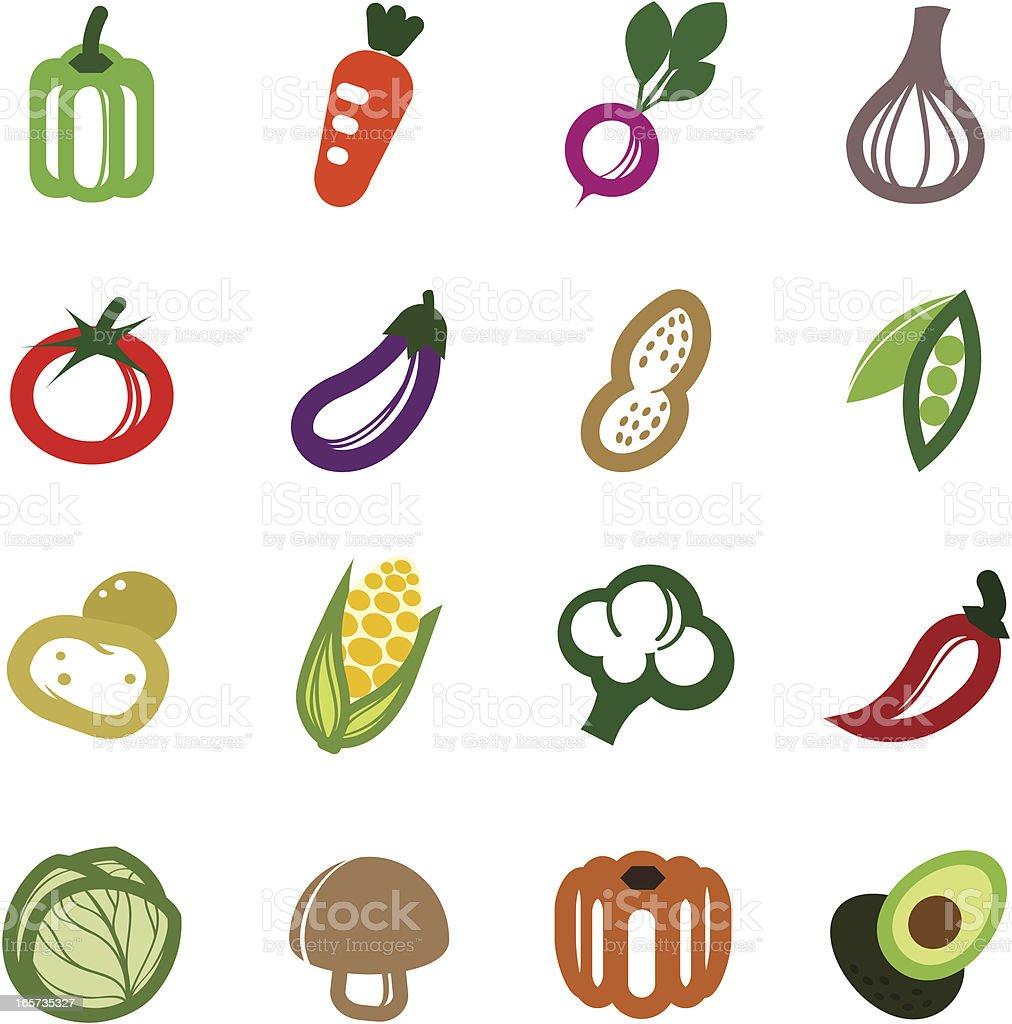 vegetable icon set vector art illustration