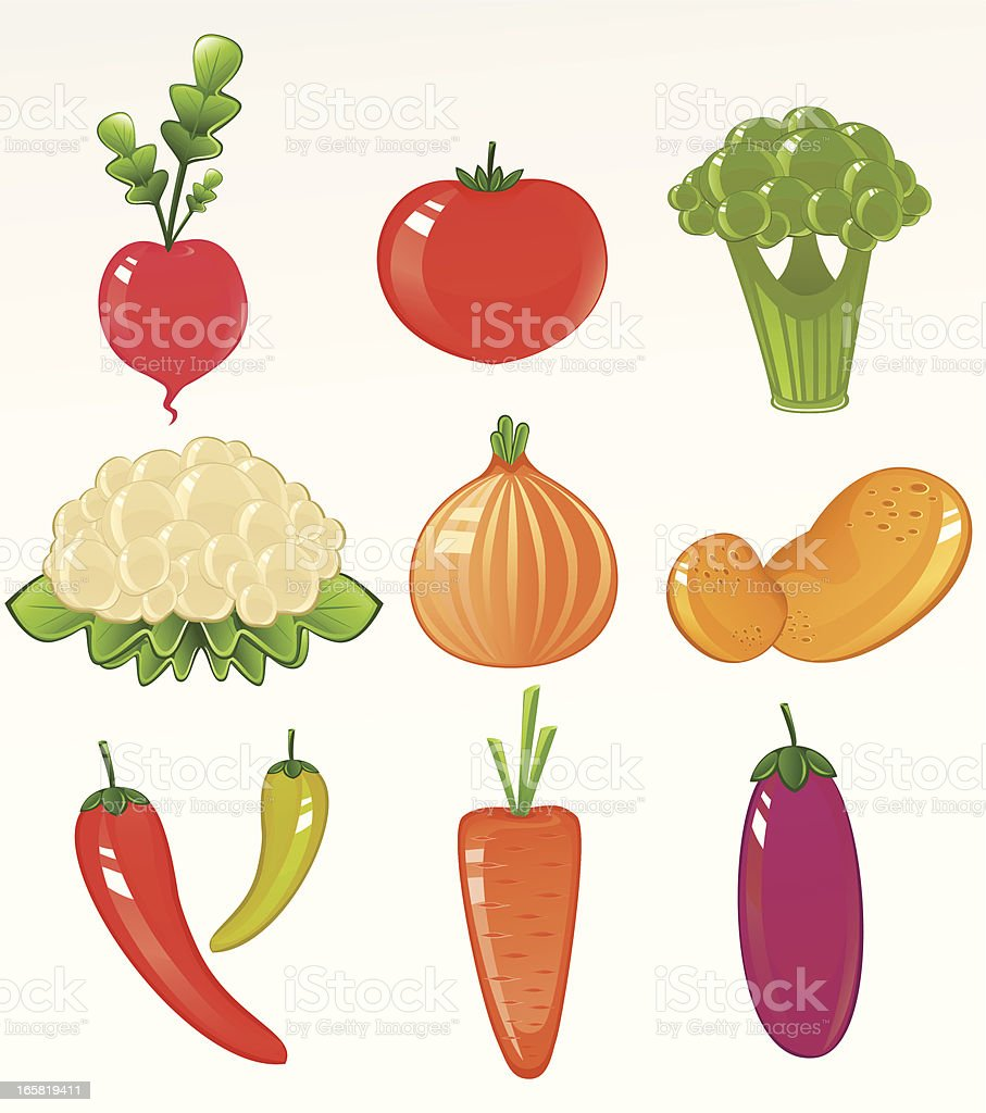 Vegetable Icon Set royalty-free stock vector art