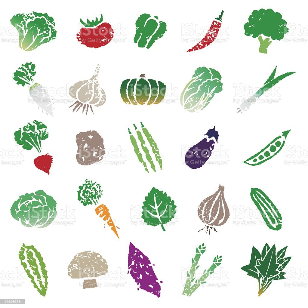 Vegetable icon set vector art illustration