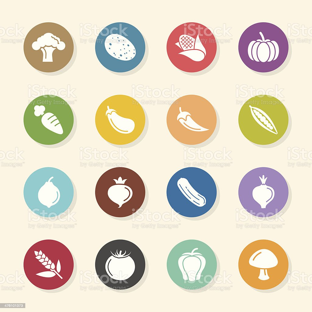 Vegetable Icons - Color Circle Series vector art illustration