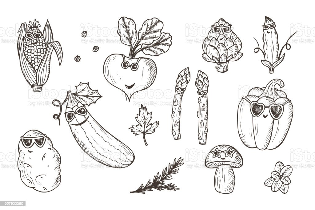 Vegetable icons set. Funny Stylish Fashion Vegetables with sunglasses. Hand drawn doodle corn, beet, zucchini, potato, artichoke, asparagus, pod green pea, bell pepper, champignon mushroom vector art illustration