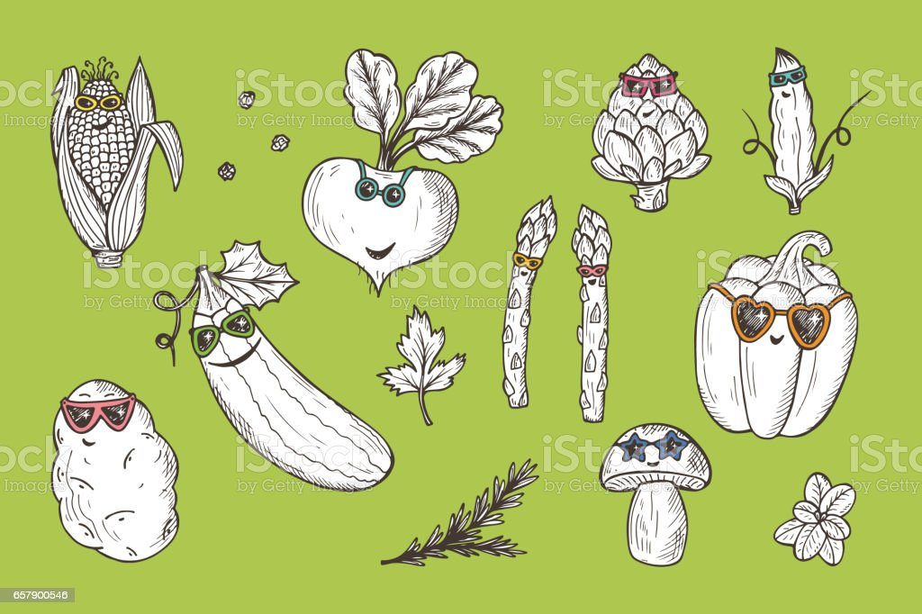 Vegetable icons set. Funny Stylish Fashion Vegetables with sunglasses. Hand drawn doodle corn, beet, zucchini, potato, artichoke, asparagus, pod green pea, bell pepper, mushroom vector art illustration