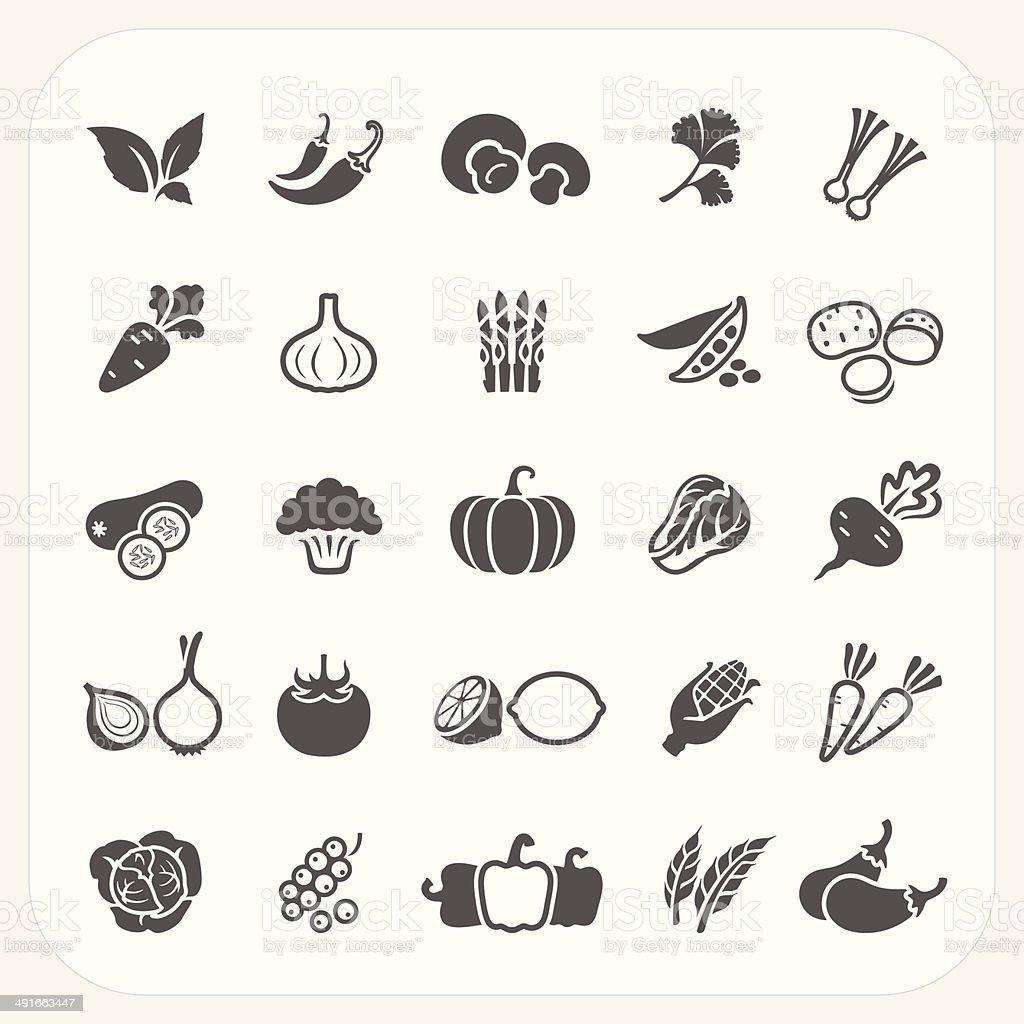 Vegetable icons set vector art illustration