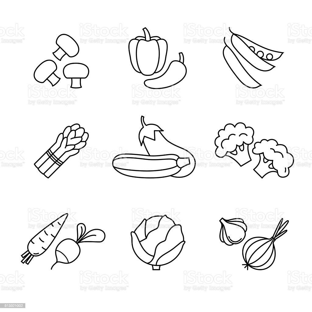 Vegetable icons thin line art set vector art illustration