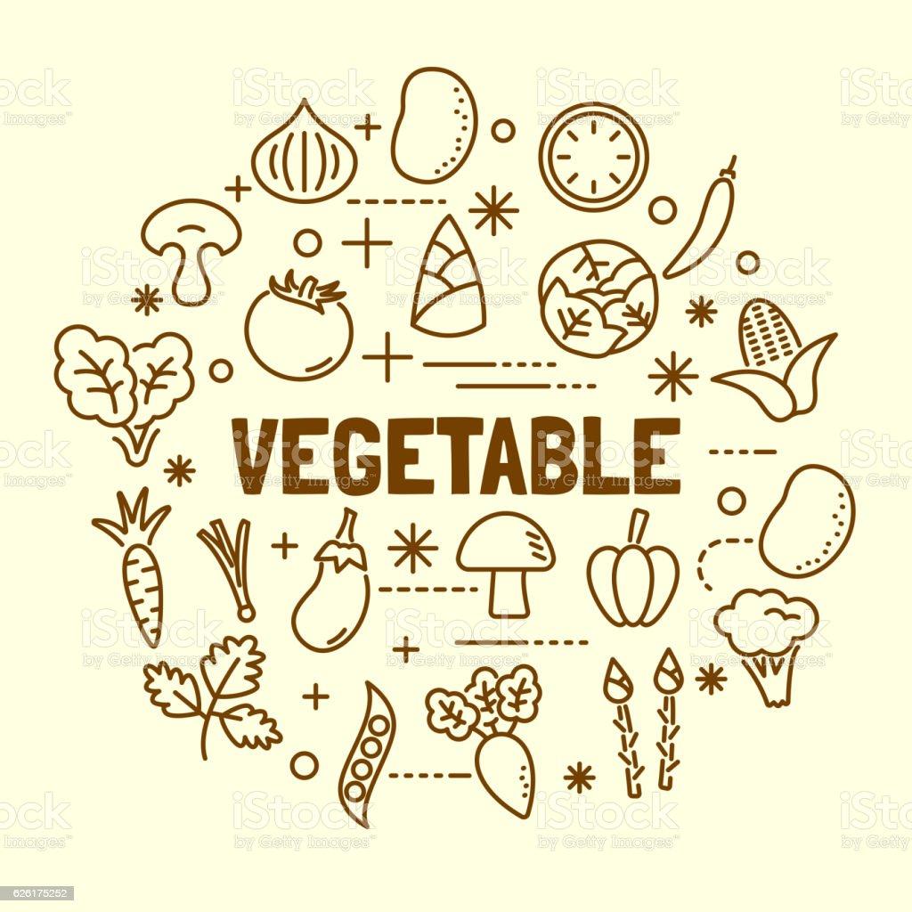 vegetable minimal thin line icons set vector art illustration
