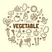 vegetable minimal thin line icons set