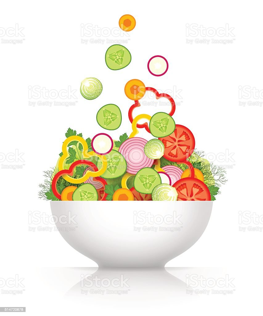 Vegetable mix for salad vector art illustration