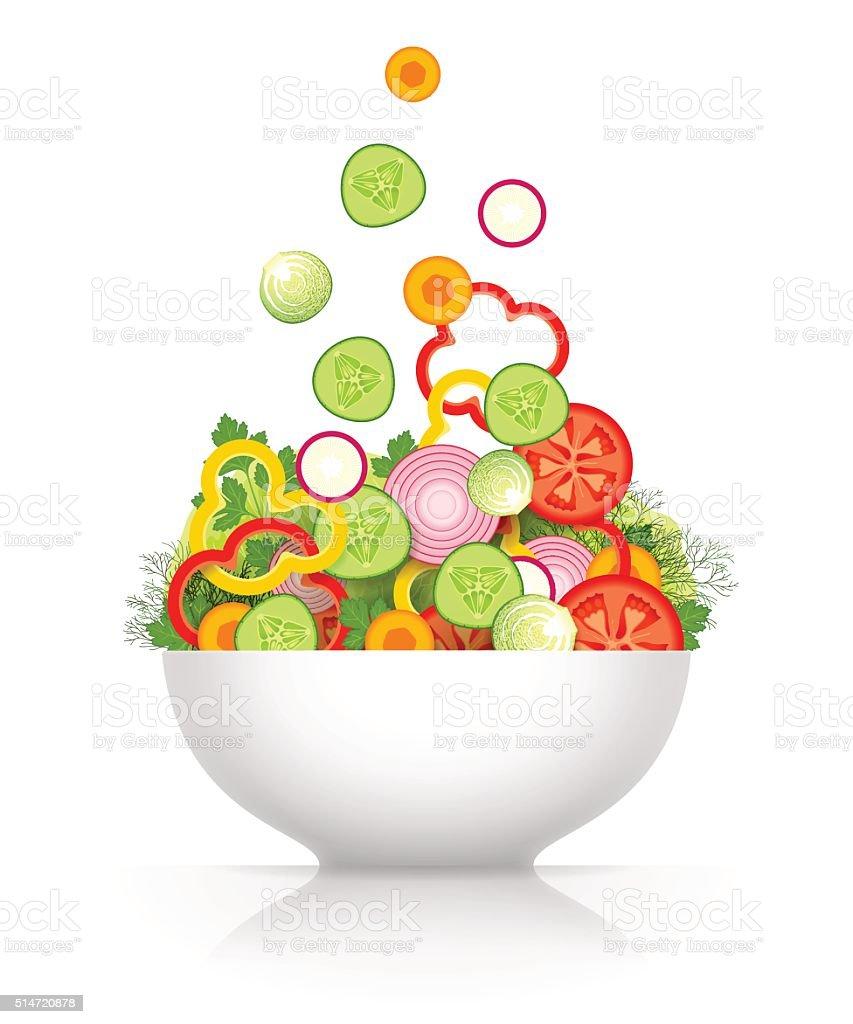 Vegetable mix for salad vector art illustration