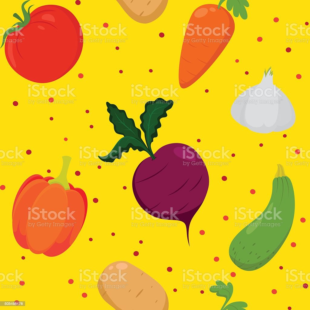 Vegetable pattern background vector art illustration