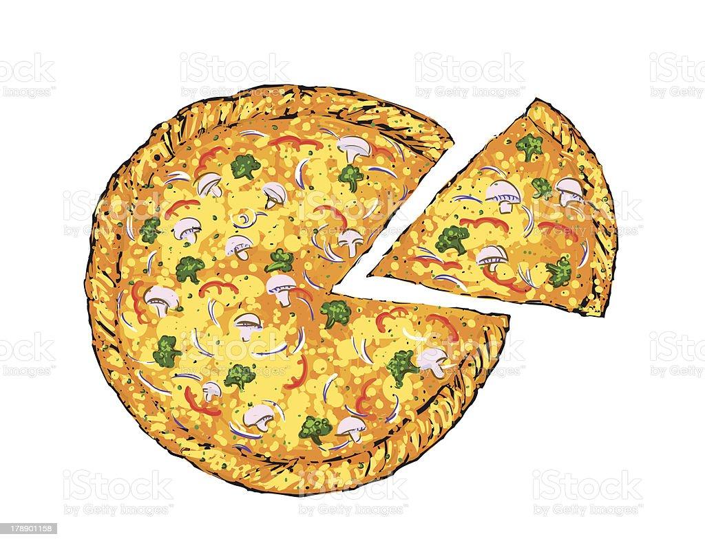 Vegetable pizza royalty-free stock vector art