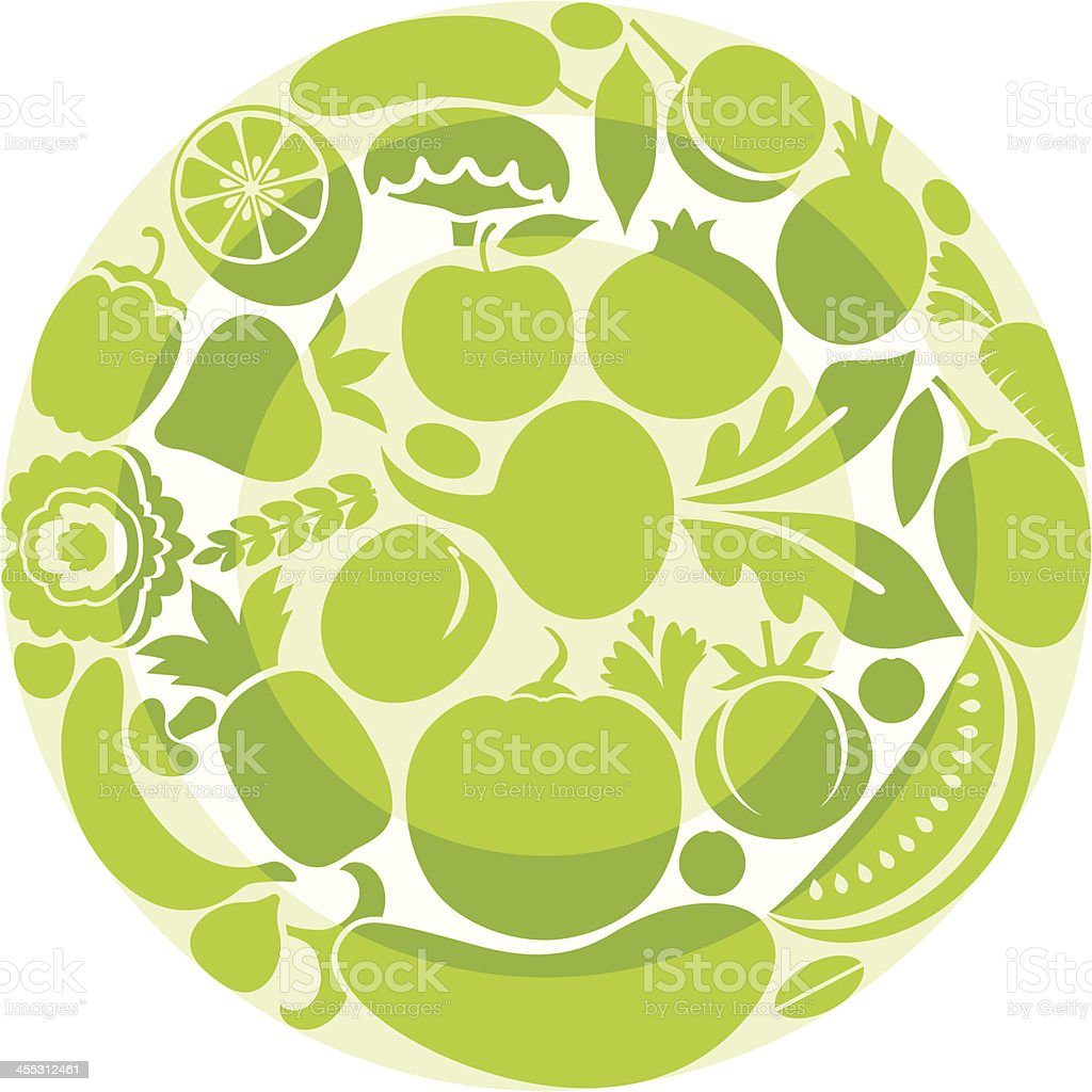 Vegetable plate vector art illustration