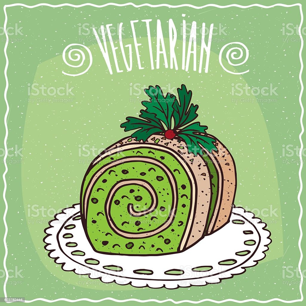 Vegetable roll with green stuffed vector art illustration