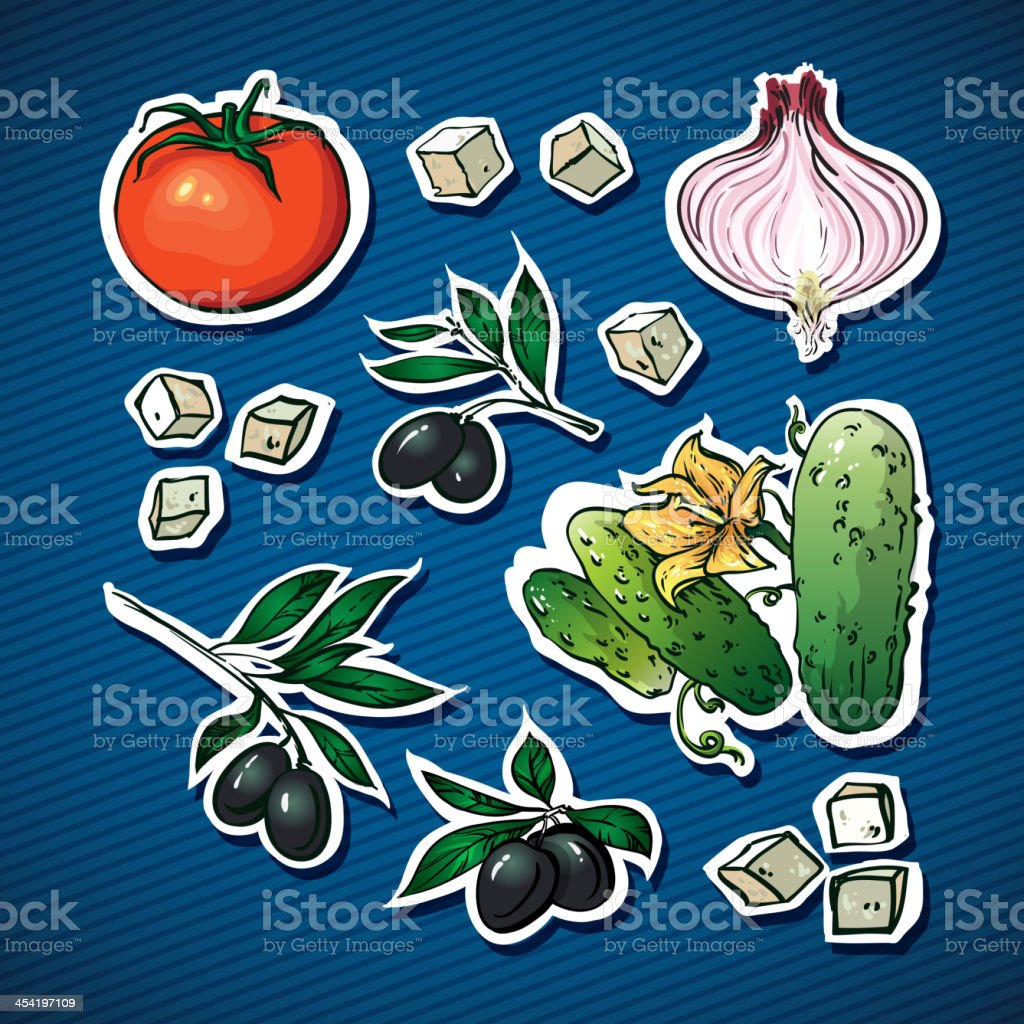 vegetable salad ingredients. olives, feta cheese  for family health royalty-free stock vector art