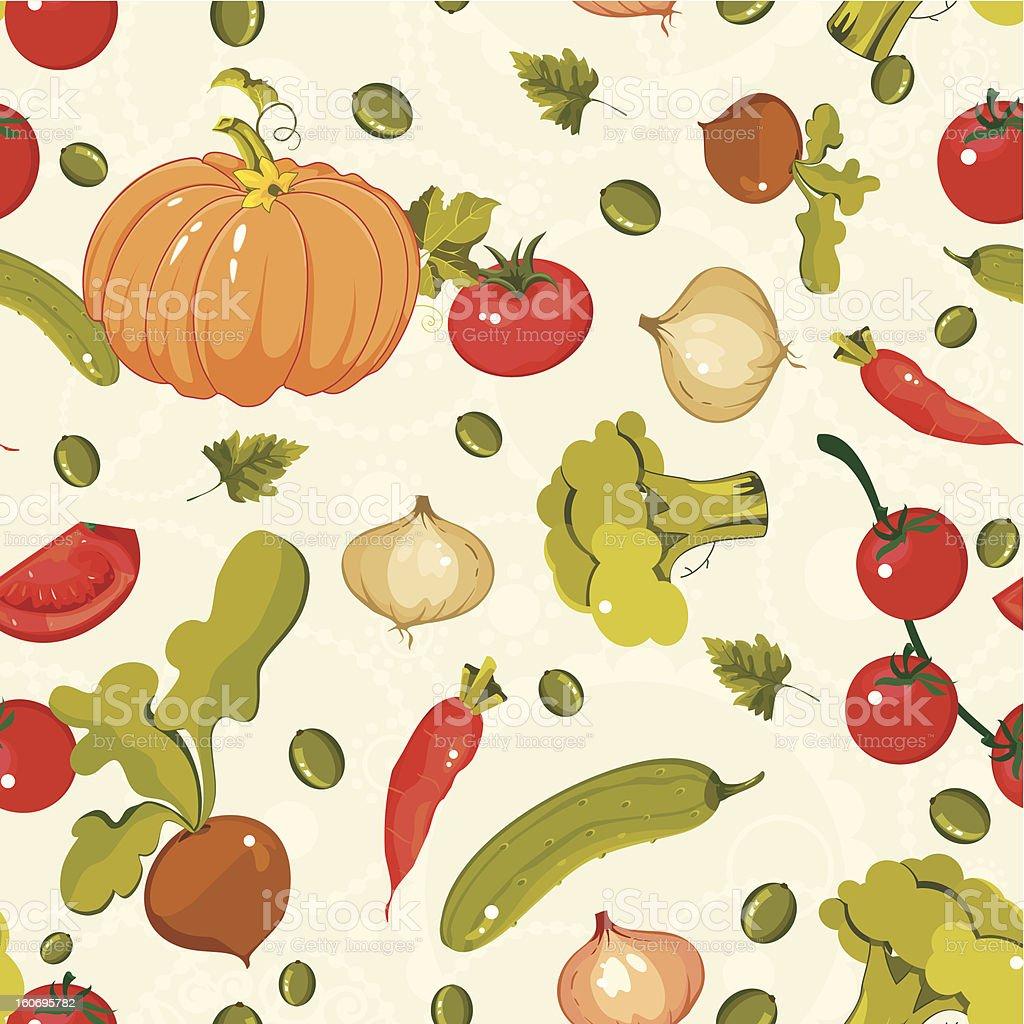 Vegetable Seamless Pattern -  Vector Illustration royalty-free stock vector art