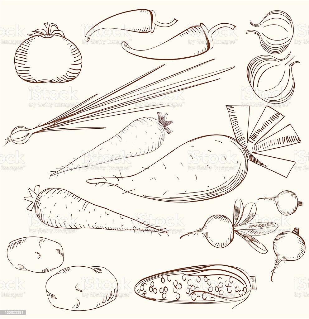 Vegetable Set, Monochrome Silhouettes royalty-free stock vector art