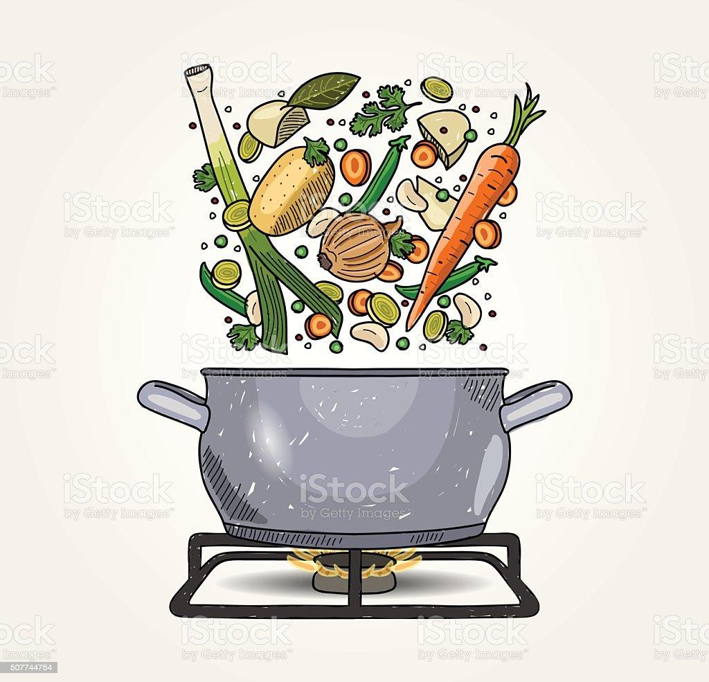 Vegetable Soup vector art illustration