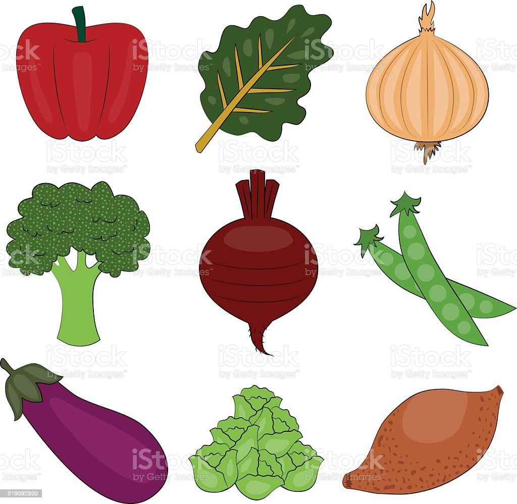 Vegetable Spot Illustration Set vector art illustration