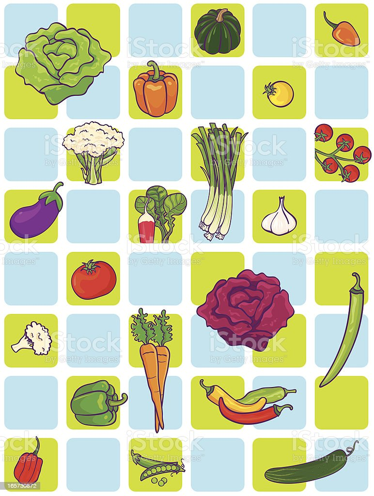 Vegetable Square Pattern royalty-free stock vector art
