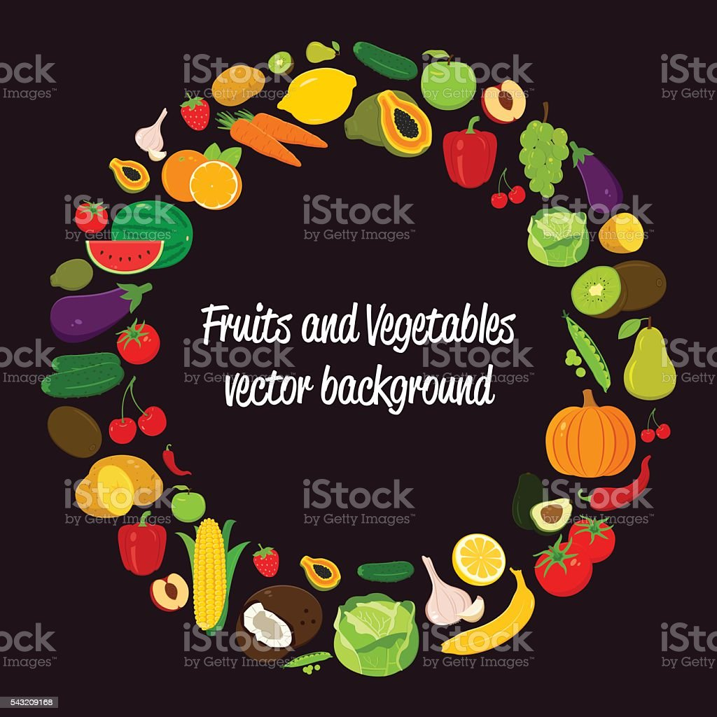Vegetable vector circle background. Fruits and Vegetables icons. royalty-free stock vector art