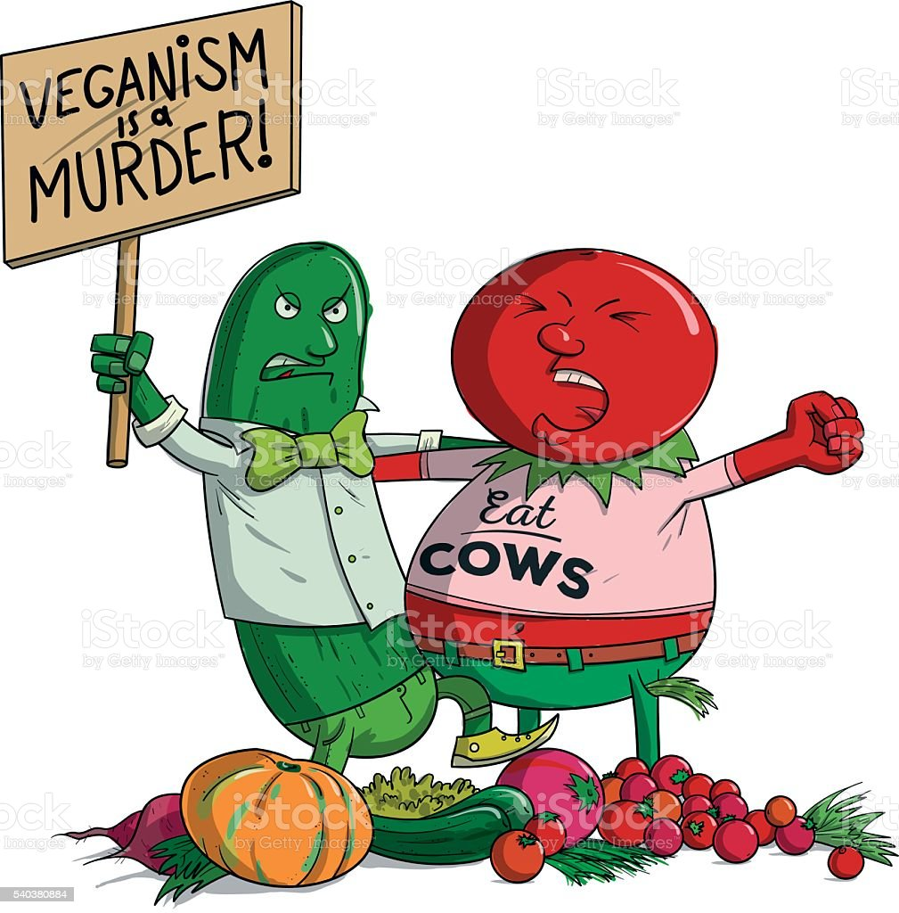 Vegetables against veganism vector art illustration