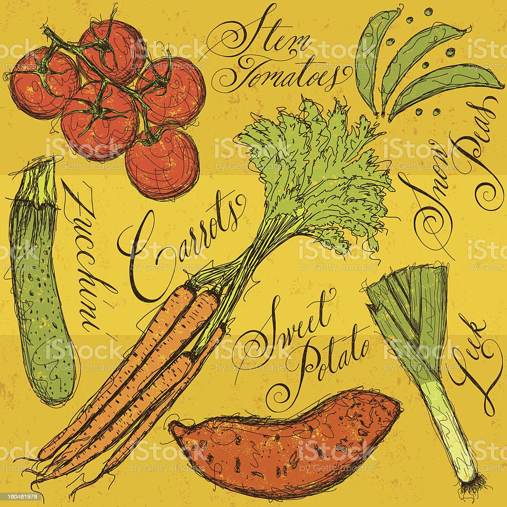 Vegetables and calligraphy vector art illustration