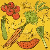 Vegetables and calligraphy