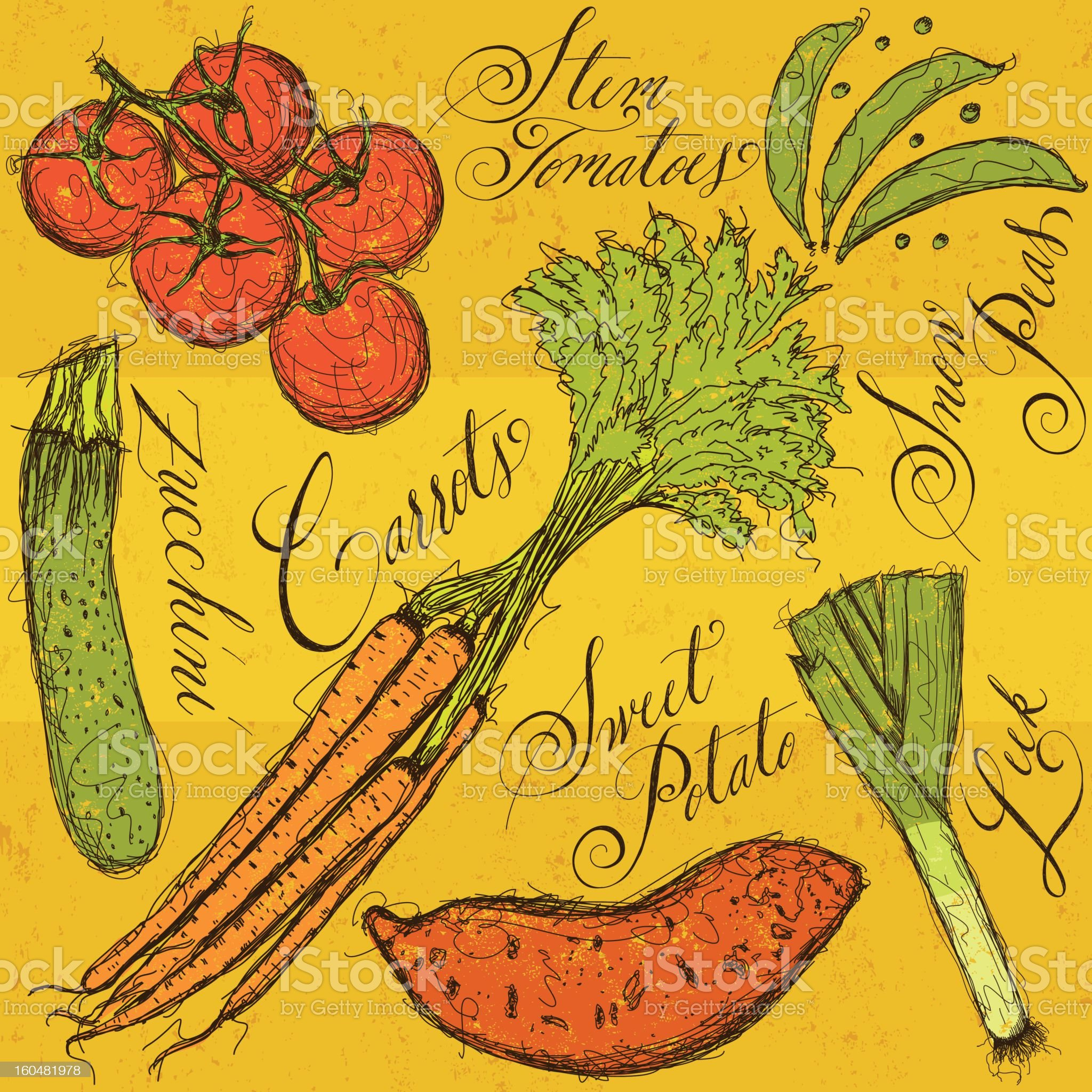 Vegetables and calligraphy royalty-free stock vector art