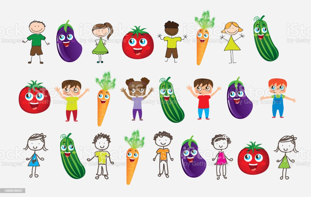 Vegetables and children vector art illustration