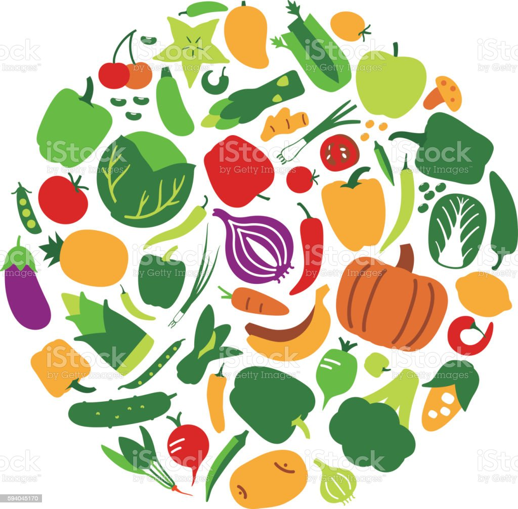 Vegetables and fruit icon set in circle, vector illustration vector art illustration