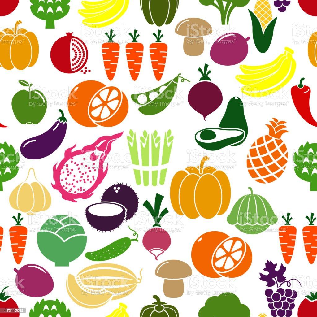 Vegetables and fruits background vector art illustration